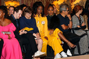 Justine Skye (L) and Normani Kordei Hamilton attend the Pyer Moss front row during New York Fashion Week: The Shows at Kings Theatre on September 08, 2019 in New York City.