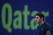 Roger Federer of Switzerland looks on in his match against Dan Evans of Great Britain on Day 3 of the Qatar ExxonMobil Open at Khalifa International Tennis and Squash Complex on March 10, 2021 in Doha, Qatar.