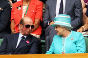 The Duke of Kent (L) and Queen Elizabeth II watch Andy Murray of Great Britain in action against Jarkko Nieminen of Finland on Day Four of the Wimbledon Lawn Tennis Championships at the All England Lawn Tennis and Croquet Club on June 24, 2010 in London, England.