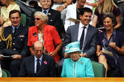Tim Henman (top), The Duke of Kent (L) and Queen Elizabeth II ahead of the second round match between Andy Murray of Great Britain against Jarkko Nieminen of Finland on Day Four of the Wimbledon Lawn Tennis Championships at the All England Lawn Tennis and Croquet Club on June 24, 2010 in London, England.