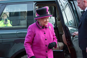 Queen Elizabeth II arrives to visit the 'Fiji: Art & Life in the Pacific' exhibition at the Sainsbury Centre for Visual Arts at the University of East Anglia on January 27, 2017 in Norwich, England.