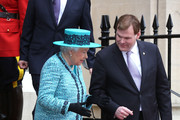 Queen Elizabeth II and Duke of Edinburgh depart after officially reopen Canada House on February 19, 2015 in London, England.