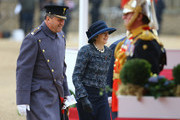 British Prime Minister Theresa May takes part in a ceremonial welcome for Colombia's President Juan Manuel Santos and his wife Maria Clemencia de Santos at Horse Guards Parade on November 1, 2016 in London, England. The President is on a state visit to Britain.