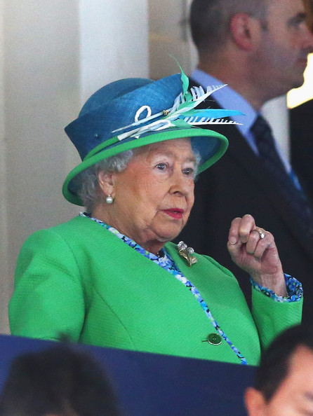 Queen Elizabeth II HRH Queen Elizabeth II watches the heats at the Tollcross International Swimming Centre during day one of the Glasgow 2014 Commonwealth Games on July 24, 2014 in Glasgow, Scotland.