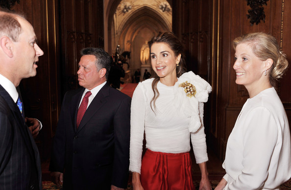 Prince Edward, Earl of Wessex and Sophie, Countess of Wessex talk to King Abdullah of Jordan and Queen Rania of Jordan during a reception in the Waterloo Chamber, before the Lunch For Sovereign Monarchs at Windsor Castle, on May 18, 2012 in Windsor, England.