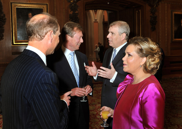 Henri, Grand Duke of Luxembourg and his wife Maria  talk to the Prince Edward, Earl of Wessex (left) and Prince Andrew, Duke of York during a reception in the Waterloo Chamber, before the Lunch For Sovereign Monarchs at Windsor Castle, on May 18, 2012 in Windsor, England.