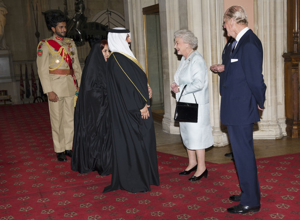 Queen Elizabeth II and Prince Philip, Duke of Edinburgh greet The King of Bahrain Hamad bin Isa Al Khalifa  and Princess Sabeeka as they arrive at a lunch for Sovereign Monarch's held in honour of Queen Elizabeth II's Diamond Jubilee, at Windsor Castle, on May 18, 2012 in Windsor, England.