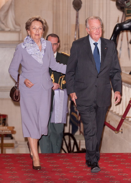 Queen Paola of Belgium and King Albert of Belgium arrive at a lunch for Sovereign Monarch's held in honour of Queen Elizabeth II's Diamond Jubilee, at Windsor Castle, on May 18, 2012 in Windsor, England.