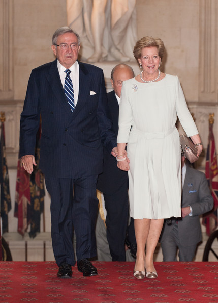 Queen Anne Marie Of Greece and King Constantine of Greece arrive at a lunch for Sovereign Monarch's held in honour of Queen Elizabeth II's Diamond Jubilee, at Windsor Castle, on May 18, 2012 in Windsor, England.