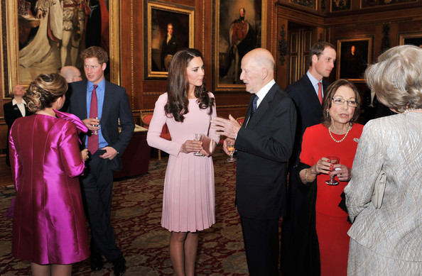 Catherine, Duchess of Cambridge and Prince William, Duke of Cambridge talk to royal guests during a reception in the Waterloo Chamber, before the Lunch For Sovereign Monarchs at Windsor Castle, on May 18, 2012 in Windsor, England.