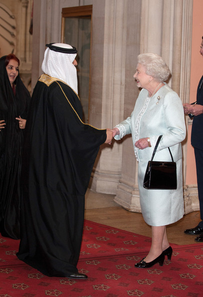 King of Bahrain Hamad ibn Isa Al Khalifa is greeted by Queen Elizabeth II as he arrives at a lunch for Sovereign Monarch's held in honour of Queen Elizabeth II's Diamond Jubilee, at Windsor Castle, on May 18, 2012 in Windsor, England.