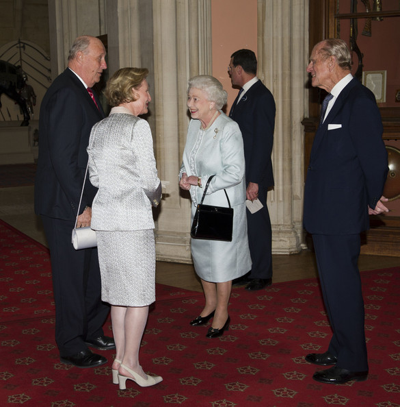 Queen Elizabeth II and Prince Philip, Duke of Edinburgh greet  King Harald V of Norway and Queen Sonja of Norway as they arrive at a lunch for Sovereign Monarch's held in honour of Queen Elizabeth II's Diamond Jubilee, at Windsor Castle, on May 18, 2012 in Windsor, England.