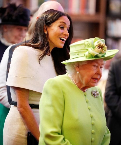 The Duchess Of Sussex Undertakes Her First Official Engagement With Queen Elizabeth II [duchess of sussex undertakes her first official engagement with,hat,lady,headgear,fashion accessory,street fashion,fedora,sun hat,smile,elizabeth ii,meghan markle,harry,pair,the storyhouse,chester town hall,sussex,road bridge,the duchess]