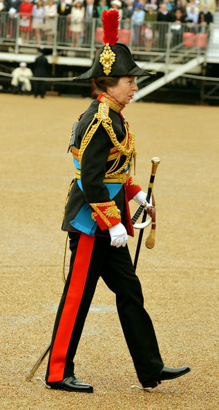 The Princess Royal arrives to see Queen Elizabeth II as she presents the Household Cavalry with new standards at Horse Guards Parade, on May 28, 2014 in London, Untied Kingdom.