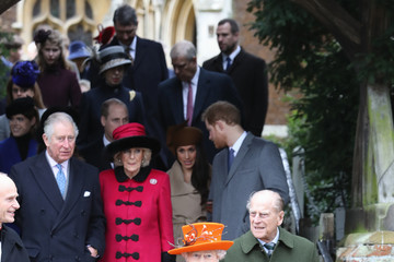 Queen Elizabeth II Prince Philip Members of the Royal Family Attend St Mary Magdalene Church in Sandringham