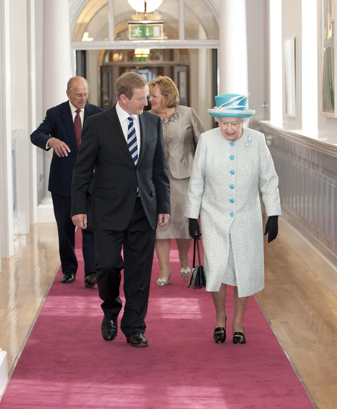 Queen Elizabeth II Queen Elizabeth II (R) and Prince Philip, Duke of Edinburgh (L) meet Taoiseach of Ireland Enda Kenny (2L) and his wife Fionnuala Kenny during a visit to Government Buildings on Merrion Street on May 18, 2011 in Dublin, Ireland. The Duke and Queen's visit to Ireland is the first by a British monarch since 1911. An unprecedented security operation is taking place with much of the centre of Dublin turning into a car-free zone. Republican dissident groups have made it clear they are intent on disrupting proceedings.