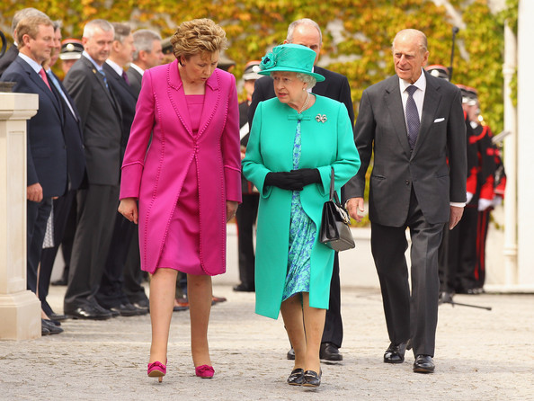 Queen Elizabeth II Queen Elizabeth II (C) and Prince Philip, Duke of Edinburgh (C) are greeted by Irish President Mary McAleese (L) and her husband Martin McAleese at the Aras an Uachtarain, the official residence of the President of Ireland, on May 17, 2011 in Dublin, Ireland. The Duke and Queen's visit is the first by a monarch since 1911. An unprecedented security operation is taking place with much of the centre of Dublin turning into a car free zone. Republican dissident groups have made it clear they are intent on disrupting proceedings.