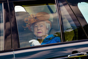 Queen Elizabeth II arrives at Eland Lodge Equestrian centre, one of the Duchy of Lancaster Farms  on May 25, 2017 in Staffordshire, United Kingdom.