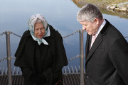 Queen Elizabeth II overlooks the dyke with Philip Camamile (R), Chief Executive at Water Management Alliance during her visit to Wolferton Pumping Station, where she officially opened the new station, on February 5, 2020 in Wolferton, Norfolk, England.  Wolferton Pumping Station allows the surrounding 7,000 acres of marshland, which sits below sea level, to be drained, dried out and farmed. The Queen's father, King George VI, opened the original station on February 2, 1948.