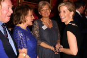 (R-L) Sophie, Countess of Wessex meets television presenters Alice Beer and Esther Rantzen during a reception to celebrate the patronages & affiliations of the Earl and Countess of Wessex hosted by Queen Elizabeth II at Buckingham Palace on February 10, 2015 in London, England