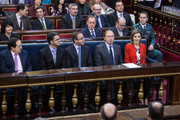 Alfonso Alonso (3rd L), Pio Garcia-Escudero (2nd R) and Queen Letizia of Spain (R) attend the Rare Diseases World Day ceremony at Spanish Senate on March 5, 2015 in Madrid, Spain.