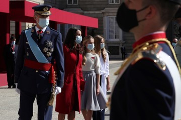 Queen Letizia of Spain Crown Princess Leonor of Spain Spanish Royals Attend The National Day Military Parade