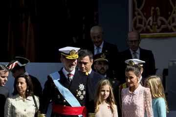 Queen Letizia of Spain King Felipe of Spain Spanish Royals Attend The National Day Military Parade
