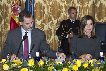 Queen Letizia of Spain Spanish Royals Attend a Meeting at The National Library in Madrid