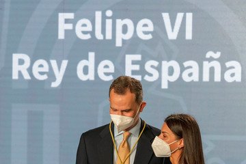 Queen Letizia of Spain King Felipe Of Spain Receives For The Fist Time Andalucia's Medal Of Honour