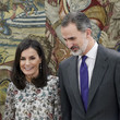 Queen Letizia of Spain Spanish Royals Attend Audiences At Zarzuela Palace