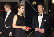 Crown Princess Mary of Denmark and Crown Prince Frederik of Denmark leave a Gala Performance at the DR Concert Hall to celebrate 40 years on the throne at City Hall on January 14, 2012 in Copenhagen, Denmark.