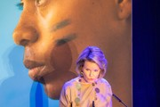 Queen Mathilde of Belgium delivers a speech at the Global Girls Summit by Plan International on October 10, 2018 in Brussels, Belgium.