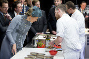 Queen Mathilde of Belgium visits the Sligro Foodgroup Netherlands on November 30, 2016 in Veghel, Netherlands.
