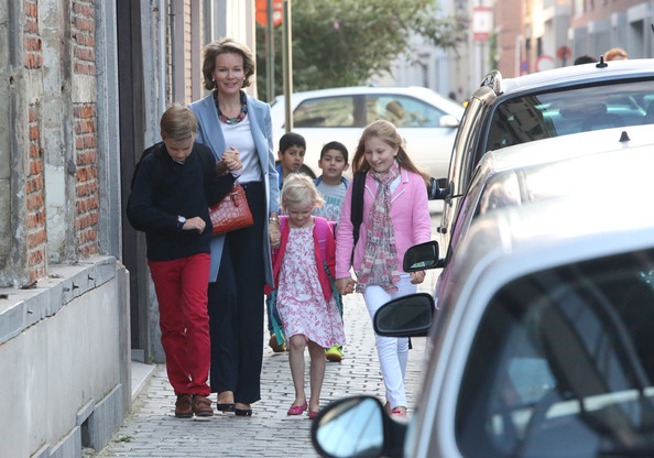 (L-R) Prince Gabriel of Belgium, Queen Mathilde of Belgium, Princess Eleonore of Belgium and Princess Elisabeth, Duchess of Brabant arrive at Sint-Jans Berghmanscollege to attend the first of the day of the school year on September 1, 2014 in Brussel, Belgium.