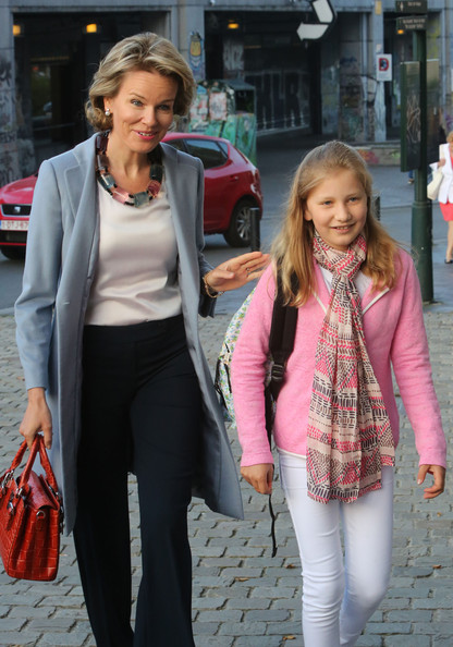 Queen Mathilde of Belgium (L) and Princess Elisabeth, Duchess of Brabant arrive at Sint-Jans Berghmanscollege to attend the first of the day of the school year on September 1, 2014 in Brussel, Belgium.