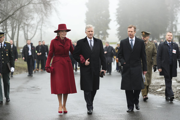 King Philippe Of Belgium And Queen Mathilde Attend The 75th Battle Of The Bulge Anniversary Remembrance Ceremony In Bastogne [battle of the bulge,standing,fashion,event,uniform,suit,winter,coat,formal wear,style,philippe of belgium,mathilde,henri grand duke of luxembourg,anniversary remembrance ceremony in bastogne,l-r,belgium,bastogne,remembrance ceremony]