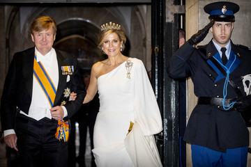 Queen Maxima Dutch Royal family Attends A gala Diner For Corps Diplomatique At Royal Palace In Amsterdam