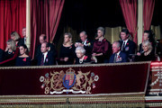 Queen Elizabeth II (C), with (L-R) Catherine, Duchess of Cambridge, Prince William, Duke of Cambridge, Prince Edward, Earl of Wessex, Sophie, Countess of Wessex, Birgitte, Duchess of Gloucester, Sir Tim Laurence, Prince Charles, Prince of Wales, Princess Anne, Princess Royal and Camilla, Duchess of Cornwall attend the annual Royal British Legion Festival of Remembrance at the Royal Albert Hall on November 09, 2019 in London, England.