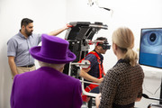 Queen Elizabeth II watches a demonstration with a rotatory chair as she opens the new premises of the Royal National ENT and Eastman Dental Hospital on February 19, 2020 in London, England.