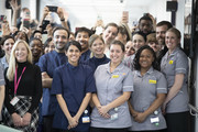 Staff gather as Queen Elizabeth II opens the new premises of the Royal National ENT and Eastman Dental Hospital on February 19, 2020 in London, England.