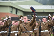 Soldiers from The Royal Welsh Regiment on parade at Lucknow Barrack during Queen Elizabeth II's visit  to present Leeks to mark St David's Day at Lucknow Barracks on March 3, 2017 in Tidworth, England.