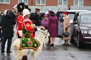 Queen Elizabeth II arrives to present Leeks to The Royal Welsh to mark St David's Day at Lucknow Barracks on March 3, 2017 in Tidworth, England.
