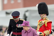 Queen Elizabeth II (C) attends a review and presents Leeks to The Royal Welsh to mark St David's Day at Lucknow Barracks on March 3, 2017 in Tidworth, England.