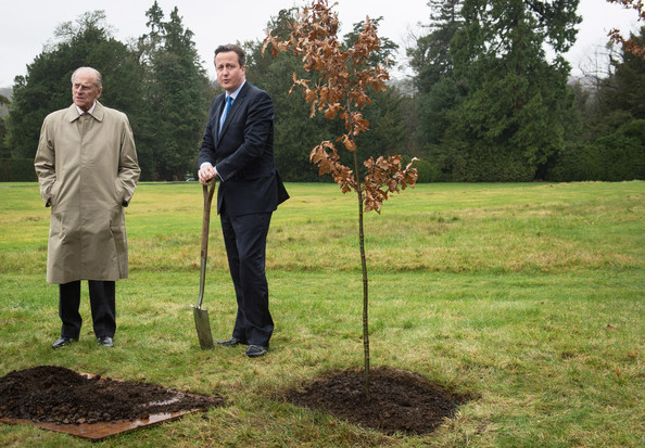 Prince Philip, Duke of Edinburgh and Prime Minister David Cameron plant an oak tree in the grounds of Chequers where they had lunch with the Queen Elizabeth II and Samantha Cameron, on February 28, 2014 near Aylesbury, England. It is the first time the Queen has visited the PM's official country residence in Buckinghamshire since 1996.