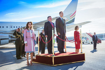 Queen Rania Spanish Royals Receive Jordan Royals at Madrid Airport
