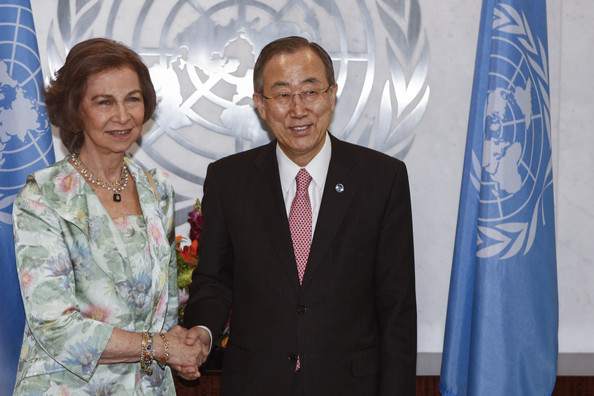 Queen Sofia Meets with Ban Ki-Moon [event,suit,businessperson,management,gesture,official,white-collar worker,tourism,sofia of spain,ban ki-moon,juan carlos,queen,secretary general,son,hands,favor,spain,united nations]