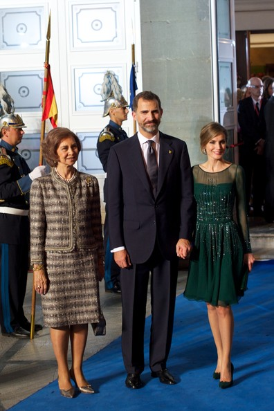 Spanish Royals Attend Principes de Asturias Awards Gala [event,fashion,premiere,carpet,suit,flooring,dress,white-collar worker,formal wear,red carpet,royals,sofia,letizia of spain,felipe of spain,r,c,spain,spanish,l,principes de asturias awards gala]