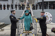Queen Elizabeth II visits HMS Sutherland in the West India Dock as the ship celebrates its 20th anniversary of her Commissioning on October 23, 2017 in London, England.