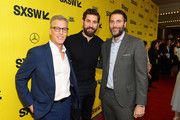 "Producer Brad Fuller, John Krasinski, and Andrew Form attend the ""A Quiet Place"" Premiere 2018 SXSW Conference and Festivals at Paramount Theatre on March 9, 2018 in Austin, Texas."