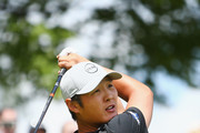 Danny Lee of New Zealand plays his shot from the first tee during the final round at the RBC Canadian Open at Glen Abbey Golf Club on July 29, 2018 in Oakville, Canada.